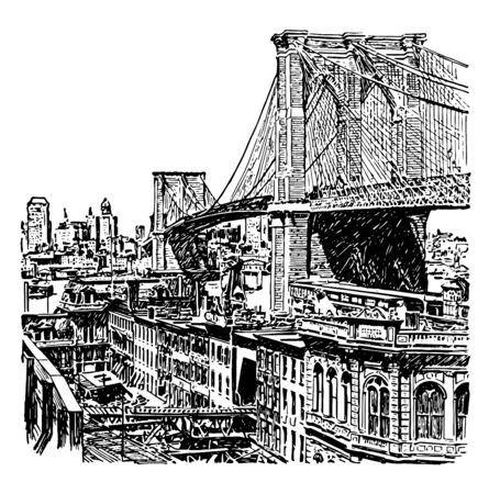 Brooklyn bridge is 125 years old wonderful feature of New york city connecting two shores of Manhatan and Brooklyn vintage line drawing.
