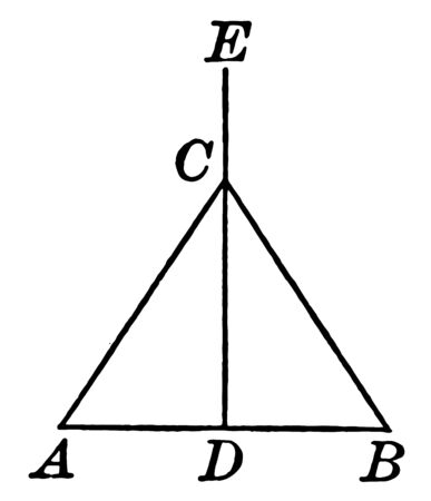 This is an image of Isosceles Triangle ABC. The image shown in the middle line of the triangle ED is Perpendicular Bisecting, vintage line drawing or engraving illustration. Çizim