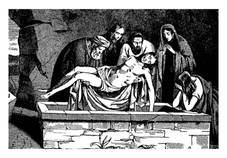 The Body of Jesus is Placed in a Tomb. A girl is crying and a lady is praying, vintage line drawing or engraving illustration.
