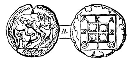 Coin of Acanthus had a kneeling bull design which symbolized sacrifice, vintage line drawing or engraving illustration.