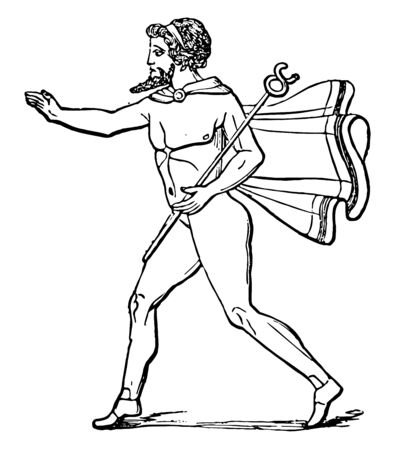 A messenger with a cloak wrapped around his neck and carrying a stick in his hand, vintage line drawing or engraving illustration.