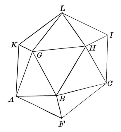 A diagram of an icosahedron that is a solid figure with twenty flat faces, especially the triangular equilateral, vintage line drawing or engraving illustration. Archivio Fotografico - 132976459