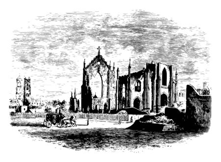 Church Ruins a historic site in South Carolina vintage line drawing.