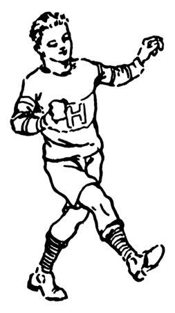 This is a kicking position in a game, vintage line drawing or engraving illustration. Ilustração