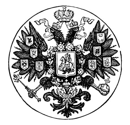 Coat of Arms, Russia, this circle shape seal has double headed eagle with crown in the center, eagle holding orb and scepter in talons, it also has shield with horse rider in the center of eagle, vintage line drawing or engraving illustration