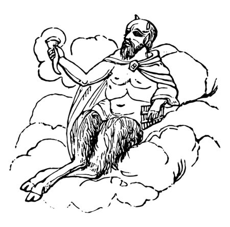 Syrinx was the appropriate musical instrument of the Arcadian and other Grecian shepherds, vintage line drawing or engraving illustration. Ilustração