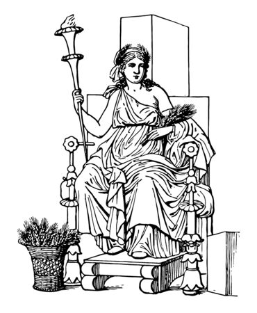 The Goddess Ceres seated while holding a torch, vintage line drawing or engraving illustration.