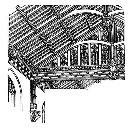 Roof of Nave, St. Marys, Westonzoyland, The English treated woodwork, with consummate skill,  the proper distribution of the strains, vintage line drawing or engraving illustration.