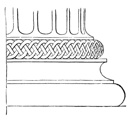 Attic Base in the Temple of Minerva Polias, most frequently occurs, consists of two tori separated by a cavetto, a plinth as basis, vintage line drawing or engraving illustration. Illustration
