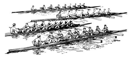 A group crew and some tourists are enjoying rowing in a big boat on water, vintage line drawing or engraving illustration. Vecteurs