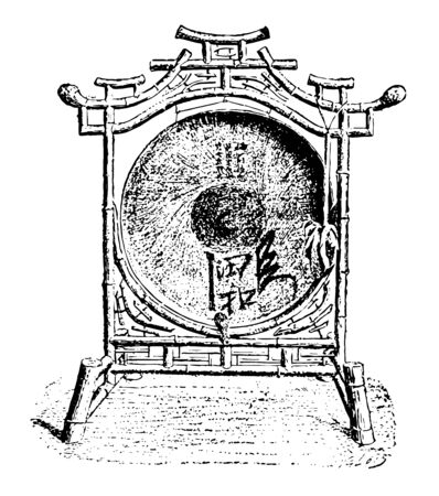 Chinese Gong is struck upon with a mallet covered with felt or rags, vintage line drawing or engraving illustration.