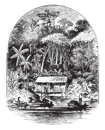 In dieser Skizze befindet sich ein Haus am Ufer des Flusses zusammen mit Gummibaum. Einige Leute stehen vor dem Haus, Vintage-Linien-Zeichnung oder Gravierillustration.
