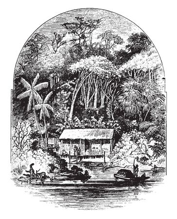 In this sketch one house is situated at the edge of the river along with Rubber tree. Some people are standing in front of the house, vintage line drawing or engraving illustration.