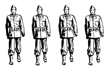 This illustration represents Forward March in Four File Formation, vintage line drawing or engraving illustration. Ilustrace