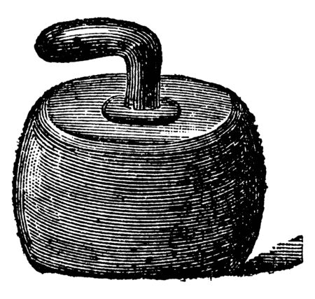 It is a curling stone curved in shape and it is having a handle which causes the stone to slowly turn, vintage line drawing or engraving illustration.