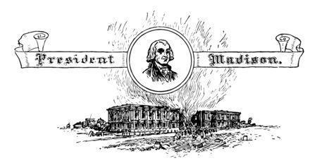 President Madison served as 4th President of United States vintage line drawing. Ilustrace