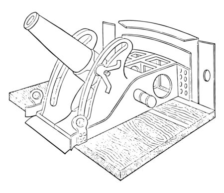 Mounted Steel Mortar is a stout cannon of forged steel with simple vent firing and rear trunnions, vintage line drawing or engraving illustration. Ilustração