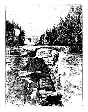 Water falls in state Alabama located near Birmingham, one of the most impressive waterfalls in the state vintage line drawing.