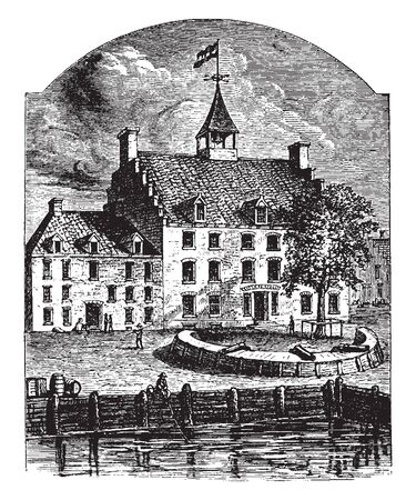 Stadt Huyshe is a historical structure situated in  New Amsterdam.,vintage line drawing or engraving illustration.