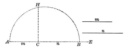 An image showing a semicircle with a line drawn perpendicular to the diameter, vintage line drawing or engraving illustration.