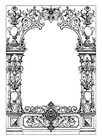 Border Typographical Frame was designed during the Renaissance period between 1550-1560, vintage line drawing or engraving illustration. Иллюстрация