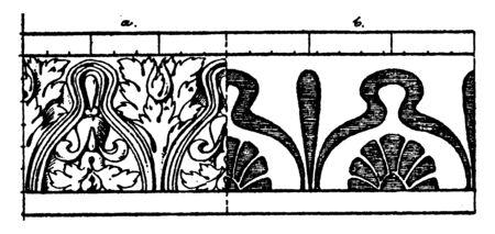 Corrupt Leaf Moulding in a leaf-shape, resplendent credentials, mould in their place, vintage line drawing or engraving illustration.