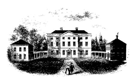 Tryon Palace also known as Governors Palace, New bern was the administrative headquarter and official residence of British Governors of North Carolina from 1770-1775 vintage line drawing. 向量圖像