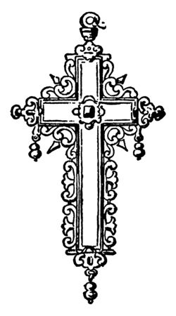 Cross created by a German craftsman in the 16th century, vintage line drawing or engraving illustration.