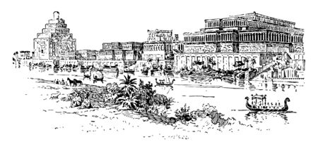 The image shows the Assyrian Palace. It's a big old palace a long time ago. There is a river next to the Assyrian Palace. Villages and animals are also present there, vintage line drawing or engraving illustration.