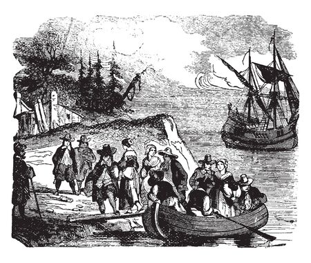 Landing of the Walloons settlers who were Romance ethnic people native to Belgium,vintage line drawing or engraving illustration.