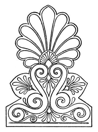 Griechischer Akroter ist in Akropolis, Vintage-Linienzeichnung oder Gravurillustration gemalt.