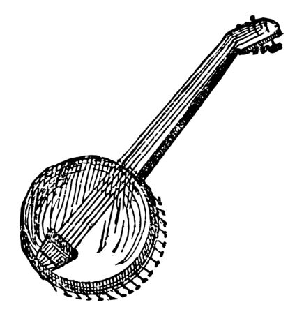 Banjo is a stringed musical instrument resembling both the guitar and tambourine, vintage line drawing or engraving illustration. Ilustrace