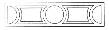 This is an image of Band Motif. This is a type of geometric design, vintage line drawing or engraving illustration. Illustration