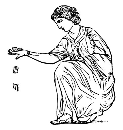 A painting of a woman throwing talus, vintage line drawing or engraving illustration.