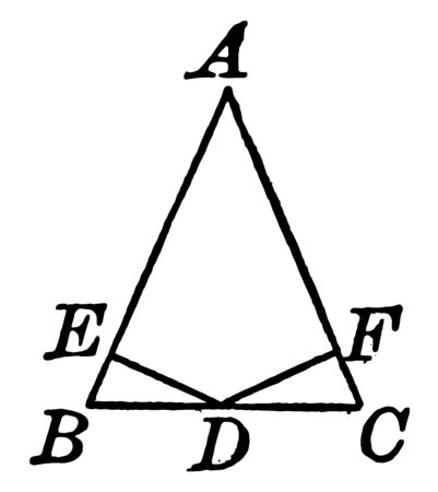 This is the image of the isosceles triangles ABC. Two lines made in the bottom of the triangle of ED and FD, is made to make the midpoint, vintage line drawing or engraving illustration.