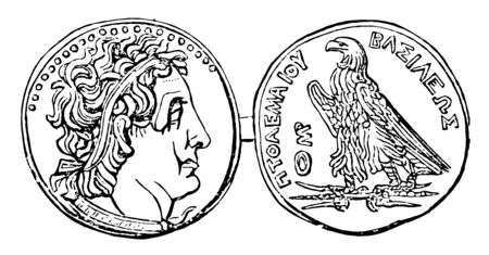 Coin of Ptolemy had a symbol of an eagle standing on a thunderbolt, vintage line drawing or engraving illustration.