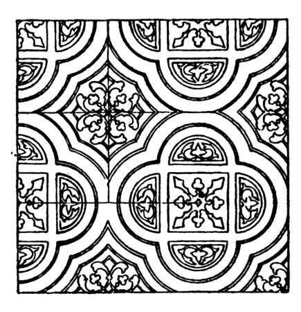 Painting Pattern is a 13th century design, vintage line drawing or engraving illustration.  イラスト・ベクター素材