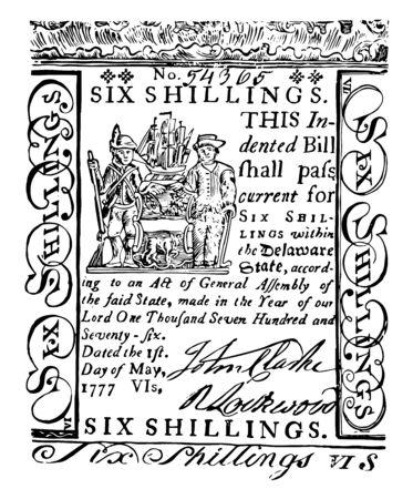 Das Bild zeigt einen Sechs-Schilling-Schein. Segelschiff auf der linken Seite ist im Bild von Schiff, Soldat, Bauer, oberem Teil der Rechnung, Vintage-Linienzeichnung oder Gravierillustration.