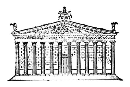 This is the image of the temple of the sun. It is located in the city of Rome. The structure is made through the use of many pillars, vintage line drawing or engraving illustration.