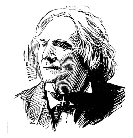 Ole Bull, 1810-1880, he was a Norwegian virtuoso violinist and composer, vintage line drawing or engraving illustration