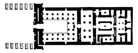 Floor Plan of the Temple of Khonsu is an example of an almost complete New Kingdom temple, this temple is at the end of the avenue of syphinxes, vintage line drawing or engraving.