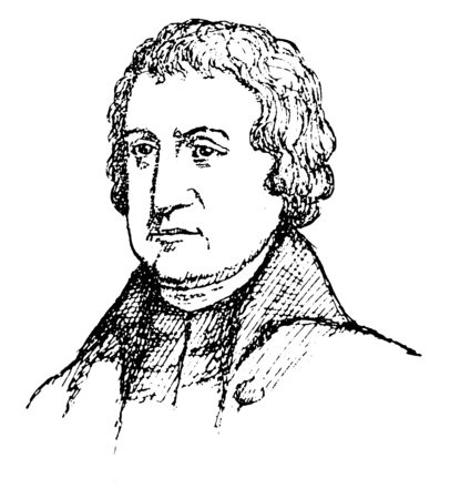 Josiah Bartlett, 1729-1795, he was American physician, statesman and governor of New Hampshire from 1790-1794, vintage line drawing or engraving illustration