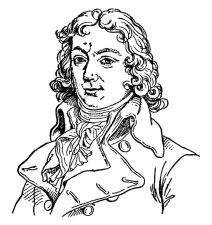 Charles Jean Marie Barbaroux, 1767-1794, he was a lawyer and French politician of the revolutionary period and freemason, vintage line drawing or engraving illustration