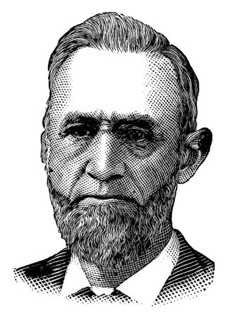 Judge Thomas M. Cooley, 1824-1898, he was the 25th Justice and a Chief Justice of the Michigan supreme court, vintage line drawing or engraving illustration Ilustração