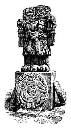 Aztec Imitation of Ganesha - Elephant-faced god is an Aztec sculpture, vintage line drawing or engraving illustration.