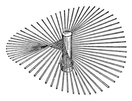 Un pezzo a forma di chiodo o asta con una scanalatura a spirale e una testa scanalata o incassata progettata per essere inserita nel materiale mediante rotazione e utilizzata per unire insieme pezzi di materiale solido, disegno di linee vintage o illustrazione di incisione. Vettoriali