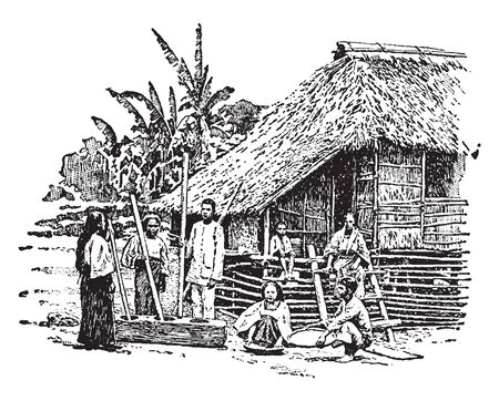 Philippines is a Southeast Asian country in the Western Pacific, vintage line drawing or engraving illustration.