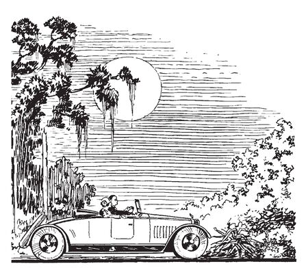 Roadster is a couple driving under the moonlight in an old style roadster, vintage line drawing or engraving illustration.