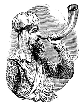 Jewish Priest Sounds Shofar is a ceremonial horn used in Jewish worship services, vintage line drawing or engraving illustration. Çizim
