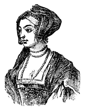 Anne Boleyn, 1501-1536, she was queen of England from 1533 to 1536, vintage line drawing or engraving illustration
